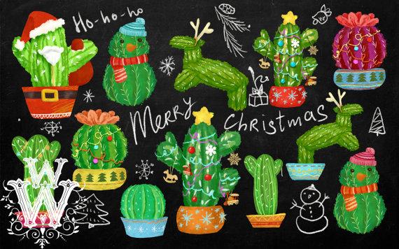 Weihnachtskaktus Clipart niedliche Kaktus von MyWonderWonder.