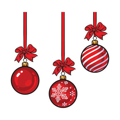 Red Christmas balls with ribbon and bows Clipart Image.