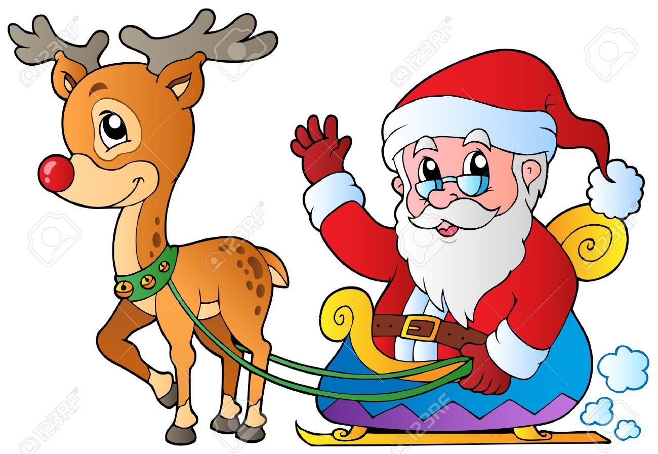 Weihnachtsmann Mit Schlitten Und Hirsch.
