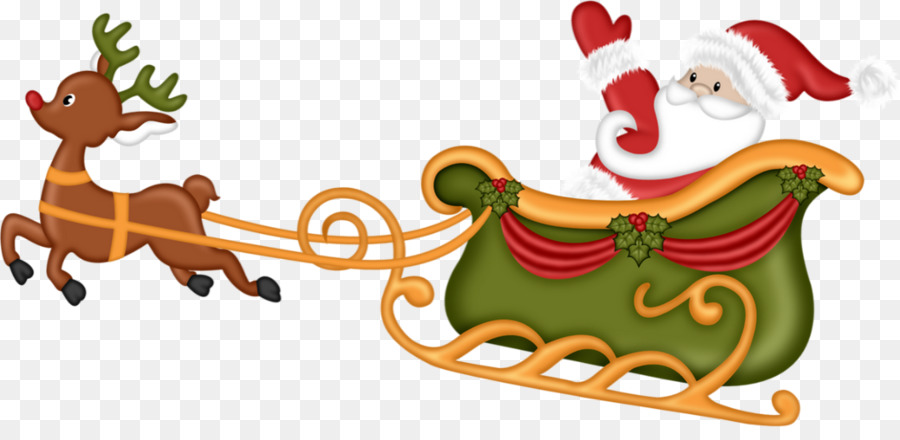 Rentier Weihnachtsmann Schlitten clipart.