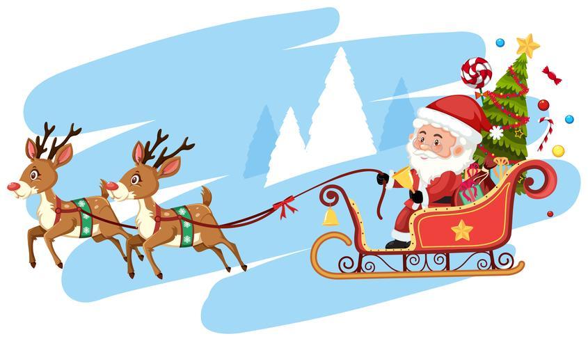 Weihnachtsmann Reiten Schlitten Vorlage.