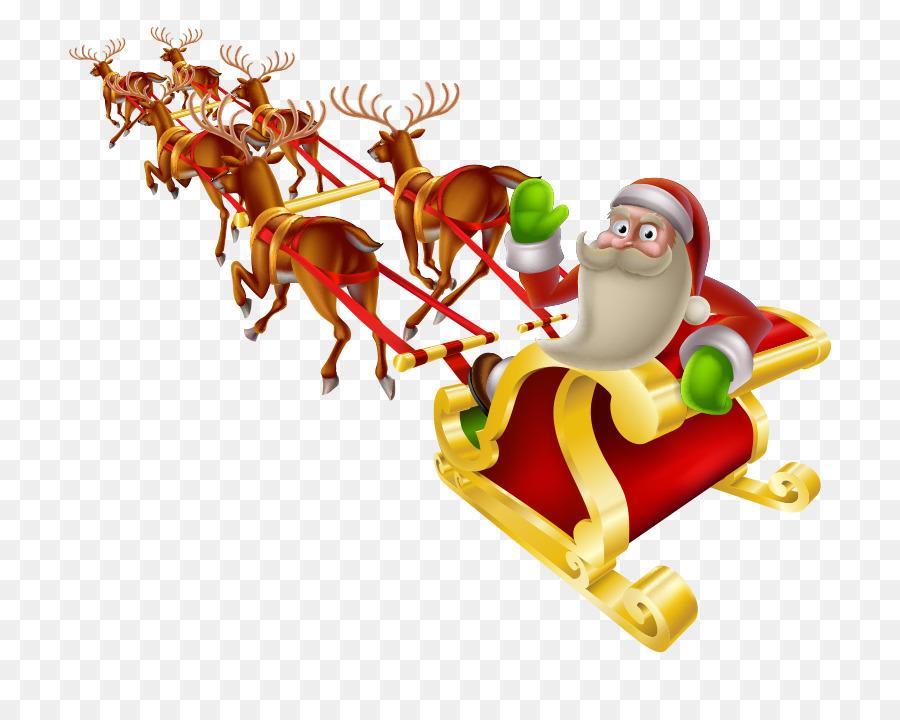 Santa Claus Rentier Weihnachten Schlitten clipart.