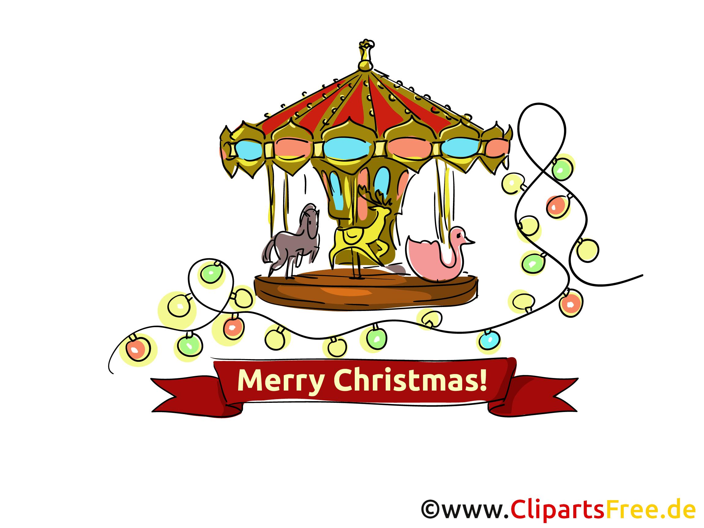 Weihnachtsmarkt Clipart, Grusskarte, eCard kostenlos.