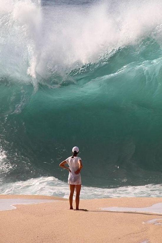 Waimea Bay, Oahu, Hawaii. I would RUNNN!!!!.