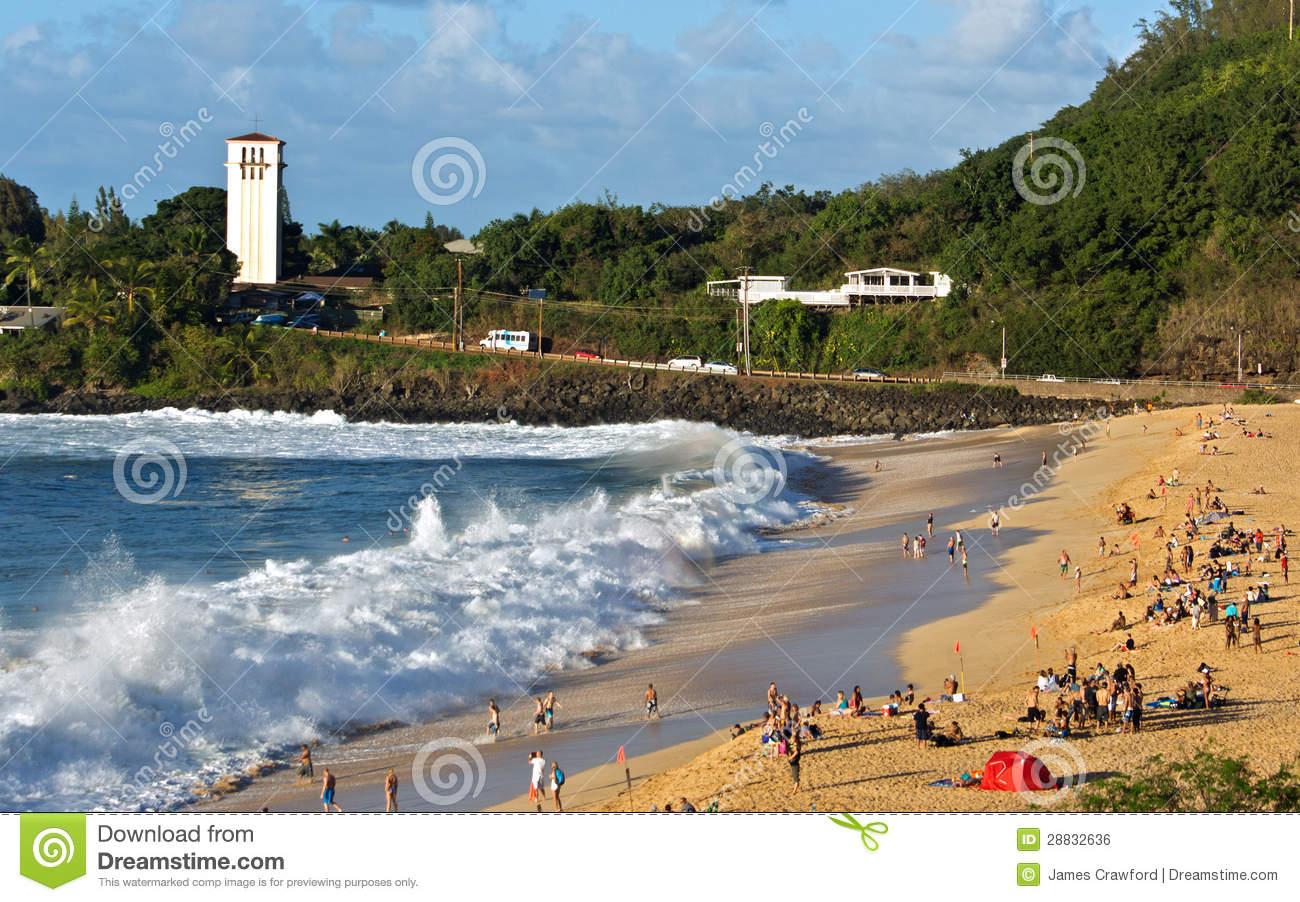 Waimea Bay Huge Shorebreak Editorial Photo.