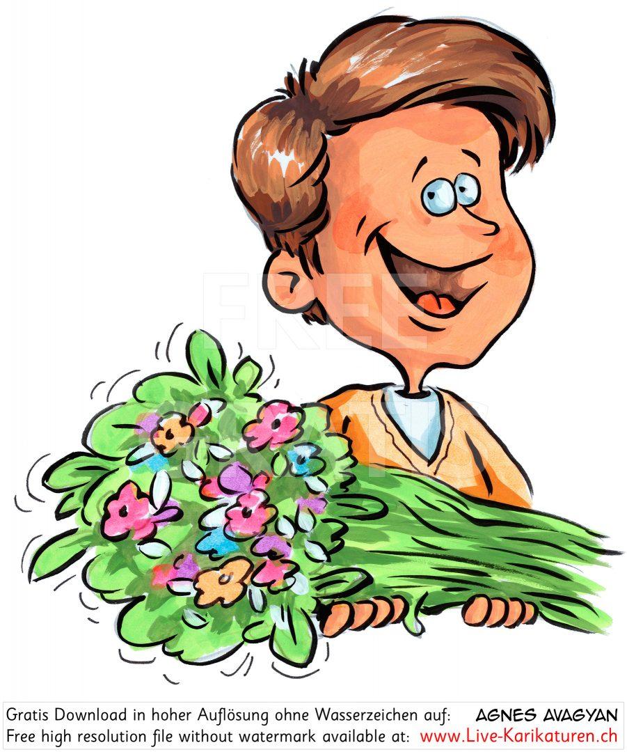 Junge Blumenstrauss schenken Danke.