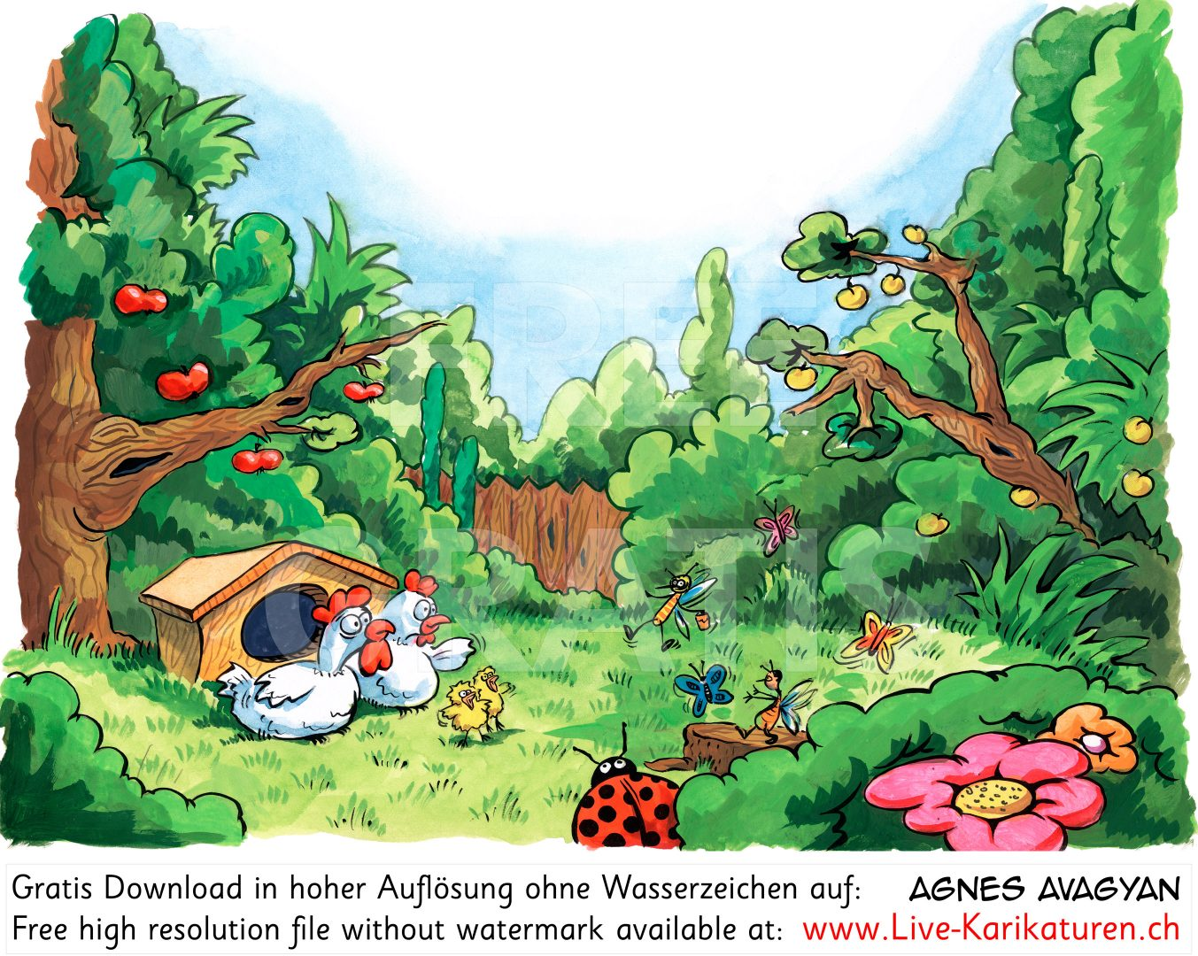 Garten Huehner Kinderbuch Idylle.