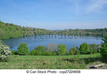 Stock Images of Weinfelder Maar,Eifel,Germany.