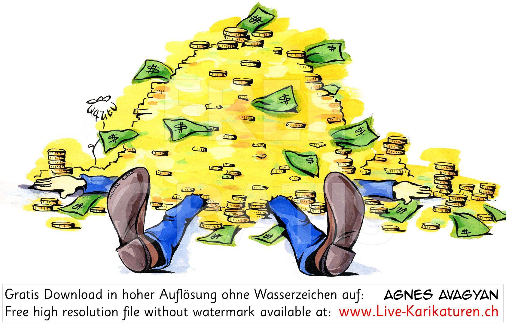 Geld erschlagen Gier Reichtum.