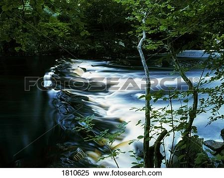 Stock Image of Weir on the Crana River, Buncrana, County Donegal.