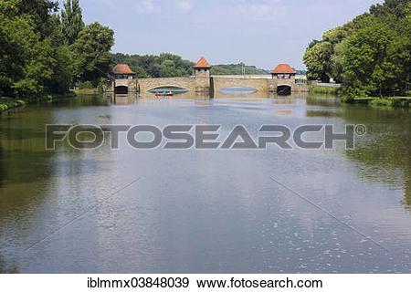 "Stock Photograph of ""Elsterwehr Weir or Palmengartenwehr Weir."