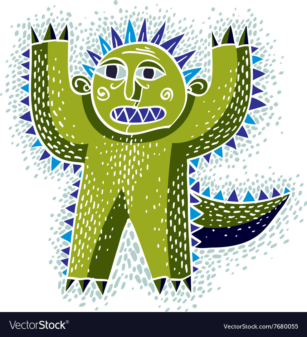 Cool cartoon scared green monster simple weird.