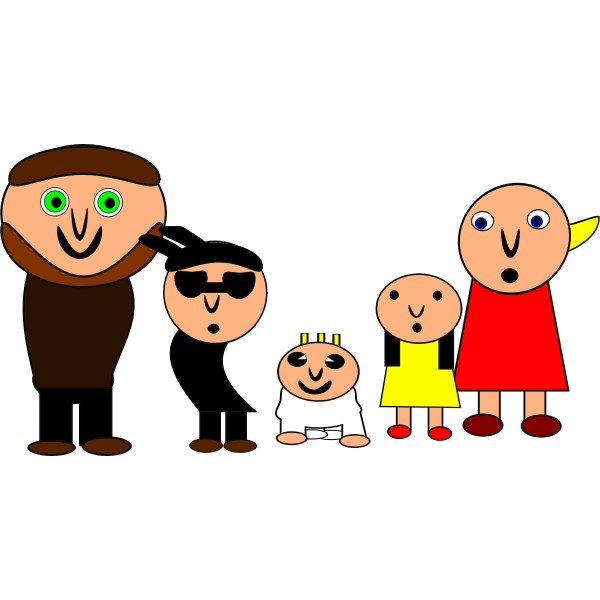 Vector clip art of weird cartoon family.