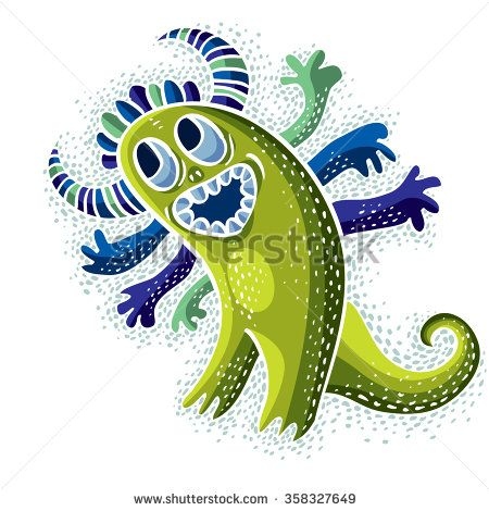 Vector cool cartoon happy smiling monster, simple weird.