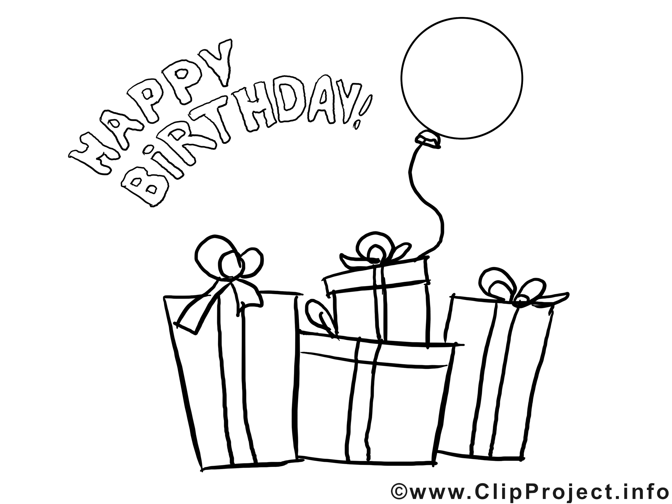 Geburtstag clipart schwarz weiß.
