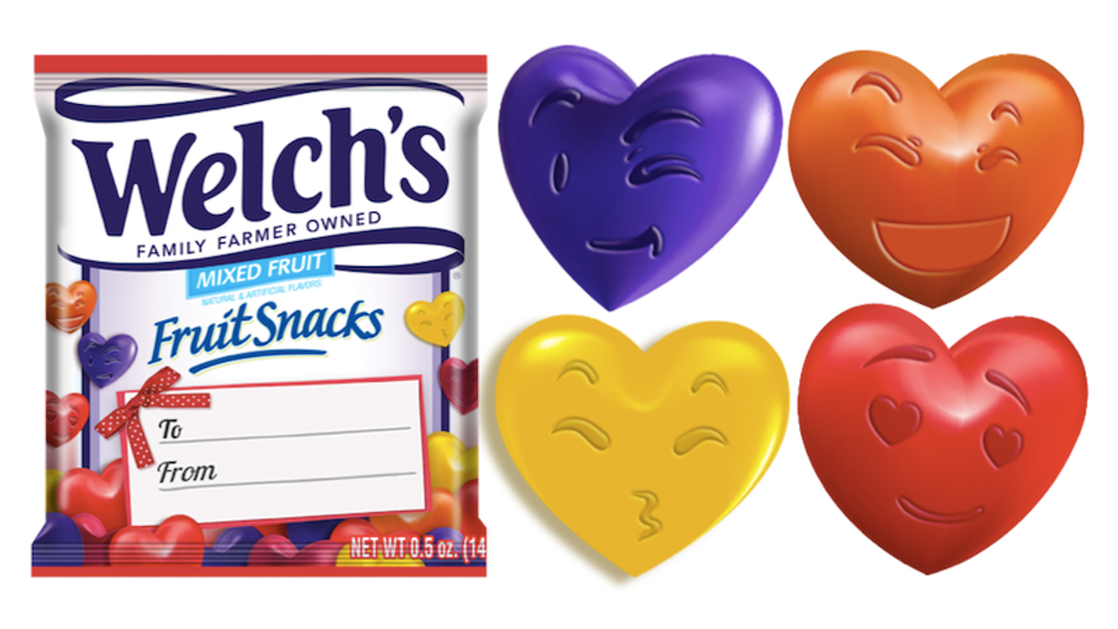 Welch\'s Valentine\'s Day Fruit Snacks Have The Cutest Emoji.
