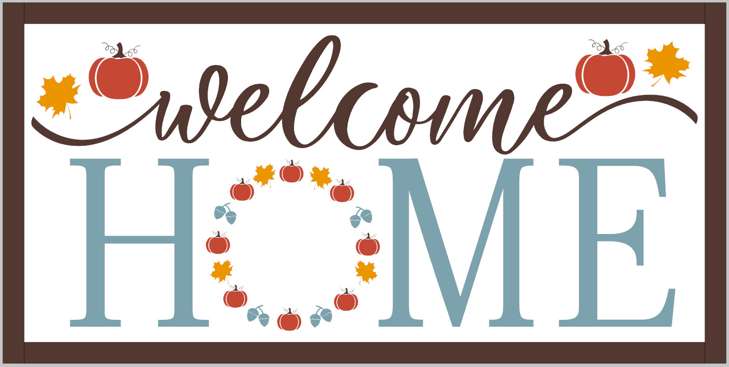 Fall Welcome Home with Pumpkins and Leaves (framed).
