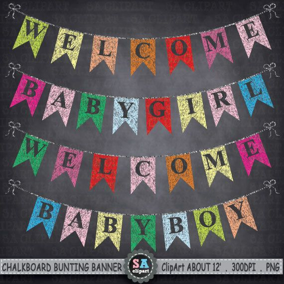 Chalkboard Bunting Banner Clipart \
