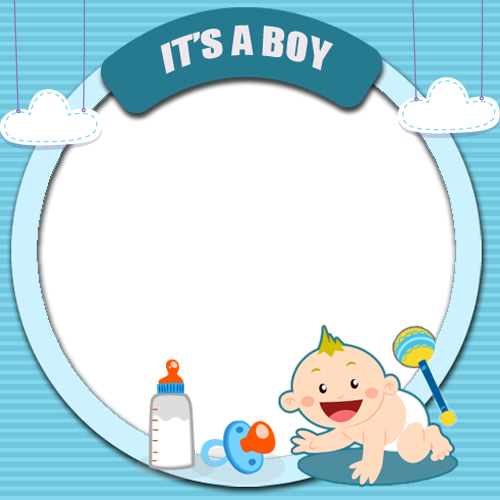 Generate Its a Boy Cute Baby Welcome Photo Frame With Your.