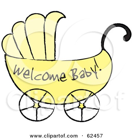 Yellow Welcome Baby Carriage Posters, Art Prints by Pams Clipart.