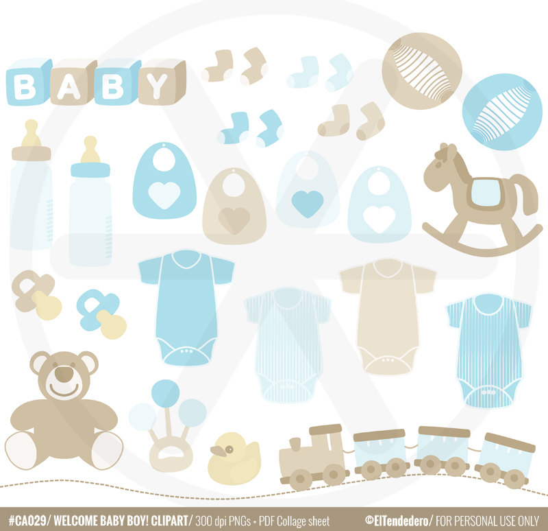 Baby boy clipart pack.