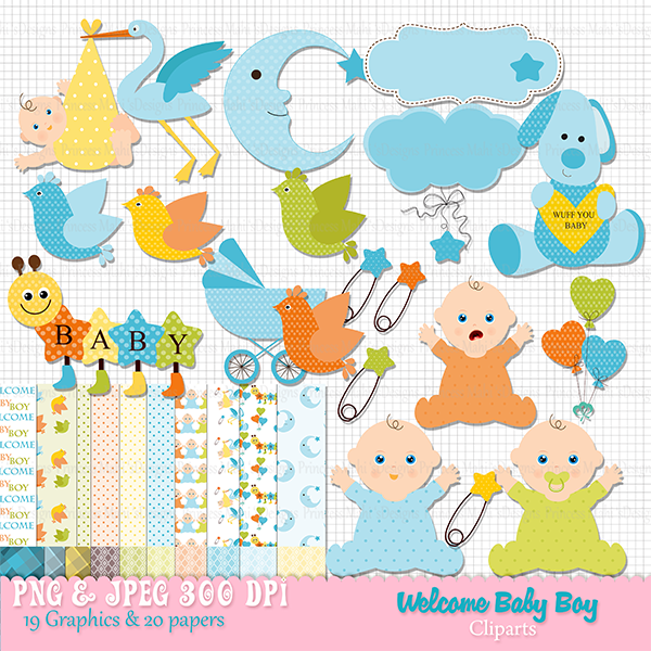 Welcome Baby Boy Clip Art.