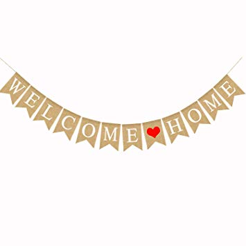 Amazon.com: Burlap Welcome Home Banner for Rustic Home.