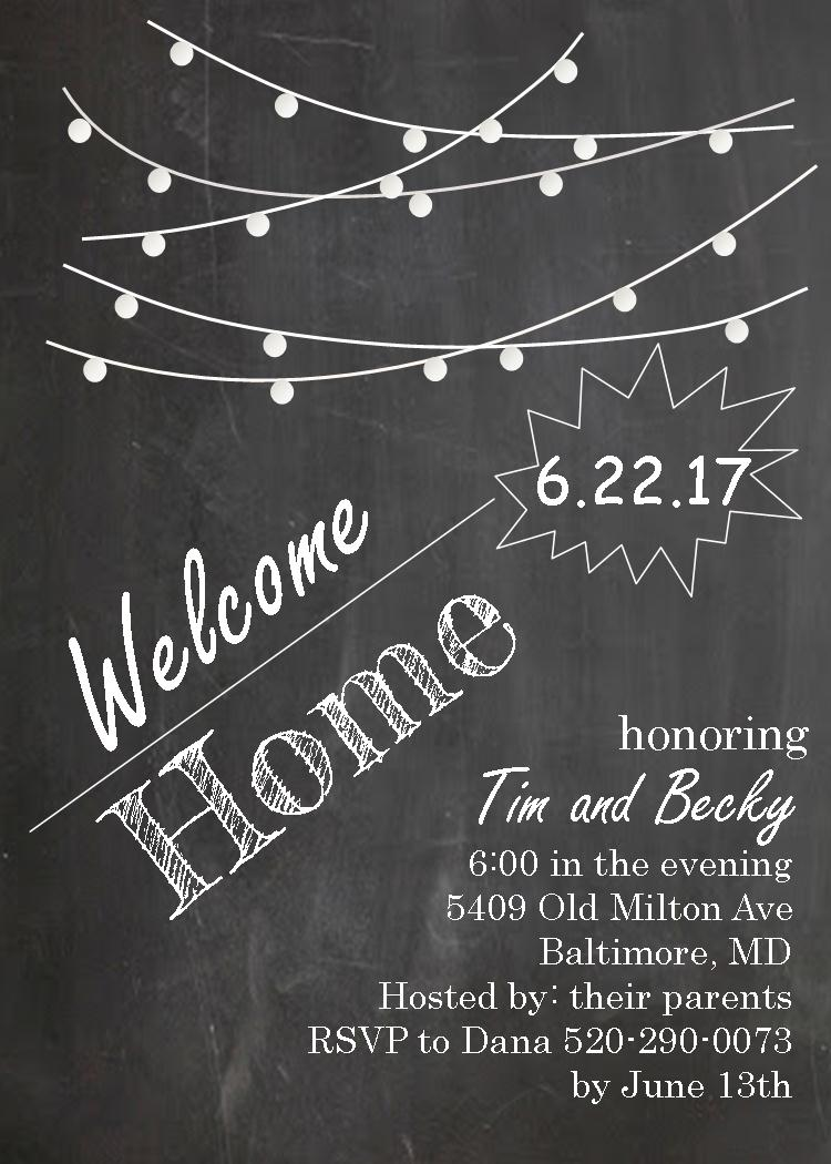 Coming Home Party invitations NEW selections Summer 2019.