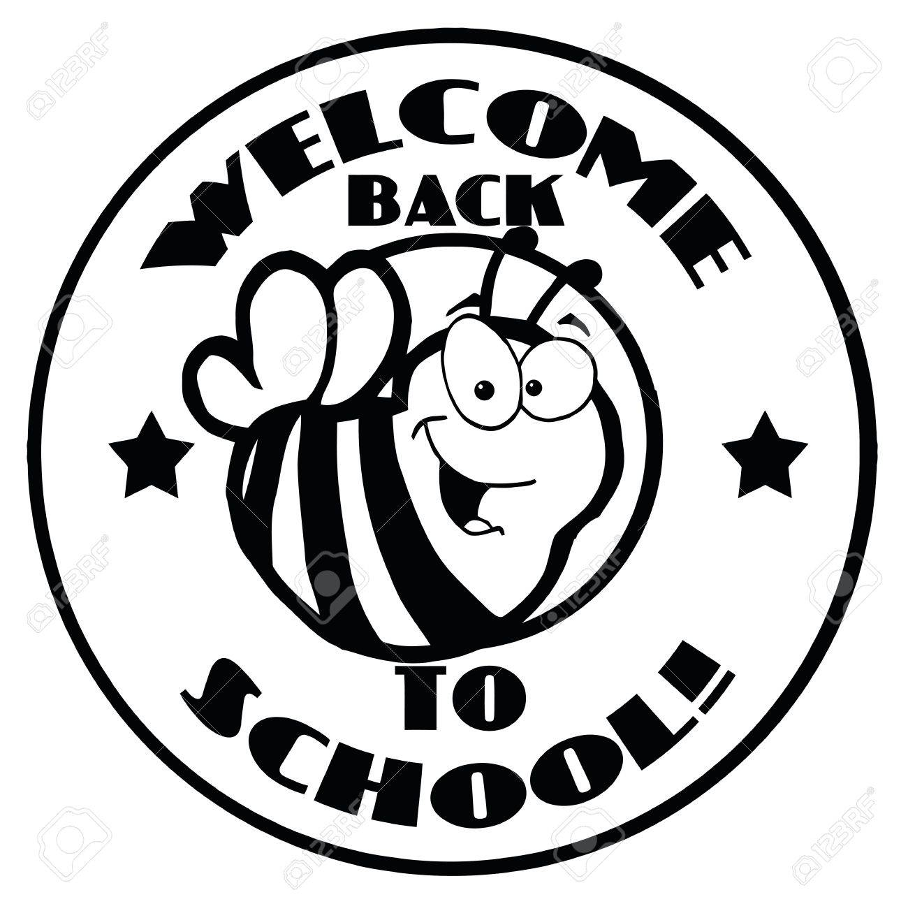 Black And White Welcome Back To School Bee Circle.