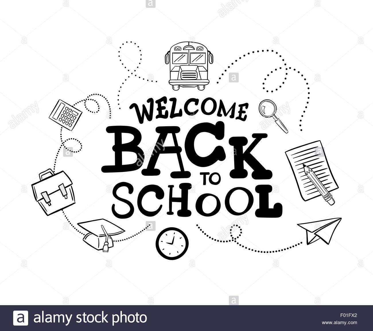 Welcome back to school clipart black and white 8 » Clipart Portal.
