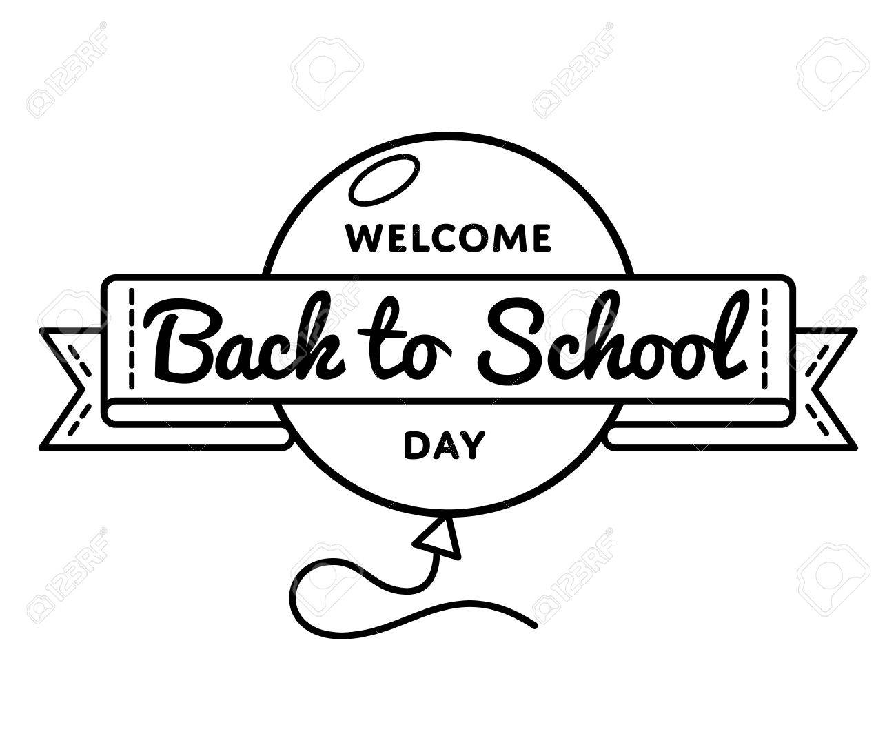 Welcome Back to School day emblem isolated vector illustration...