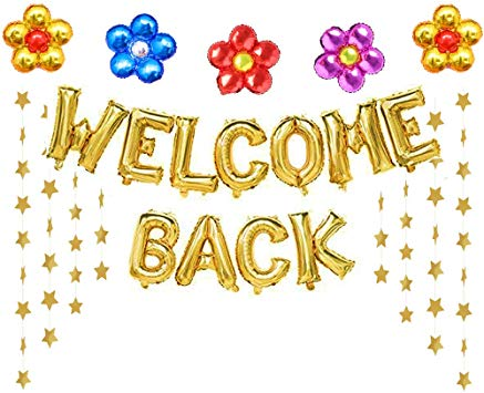 Welcome Back Balloons Gold Welcome Back Banner Back to School Party  Supplies with Flower Balloons Star Banners First Day of School Classroom,  Wedding,.