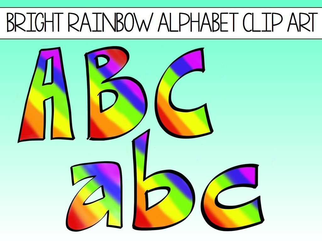 Alphabet Block Letters Clip Art Rainbows.