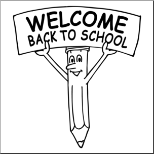 Clip Art: Cartoon Pencil w/ Welcome Back To School Sign B&W.