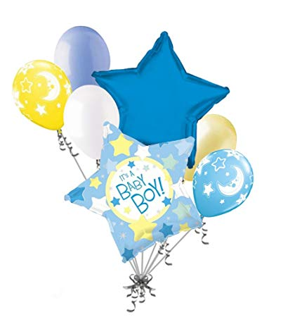 7 pc It\'s a Baby Boy Stars & Moon Balloon Bouquet Party Decoration Welcome.