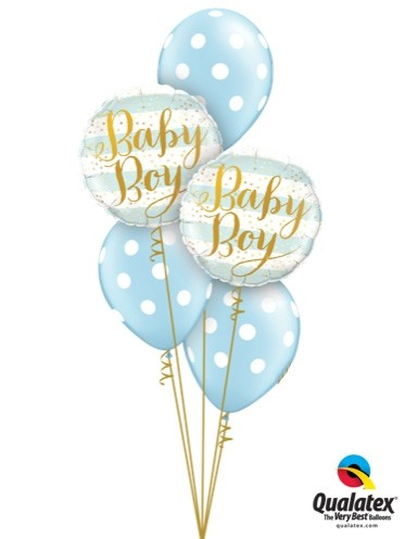 Newborn Baby Boy Blue Stripes Balloon Bouquet.
