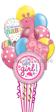 Welcome Baby Girl Newborn Baby Balloon Bouquet.