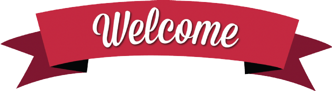 Classic Red Welcome Banner transparent PNG.