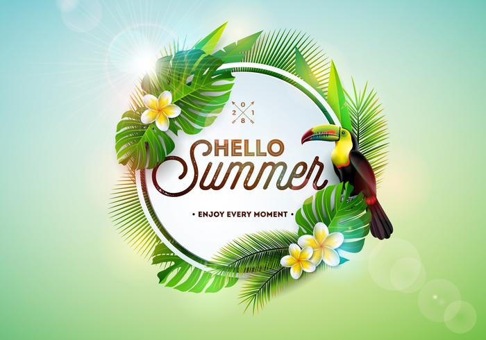 Hello Summer illustration with toucan bird on tropical.