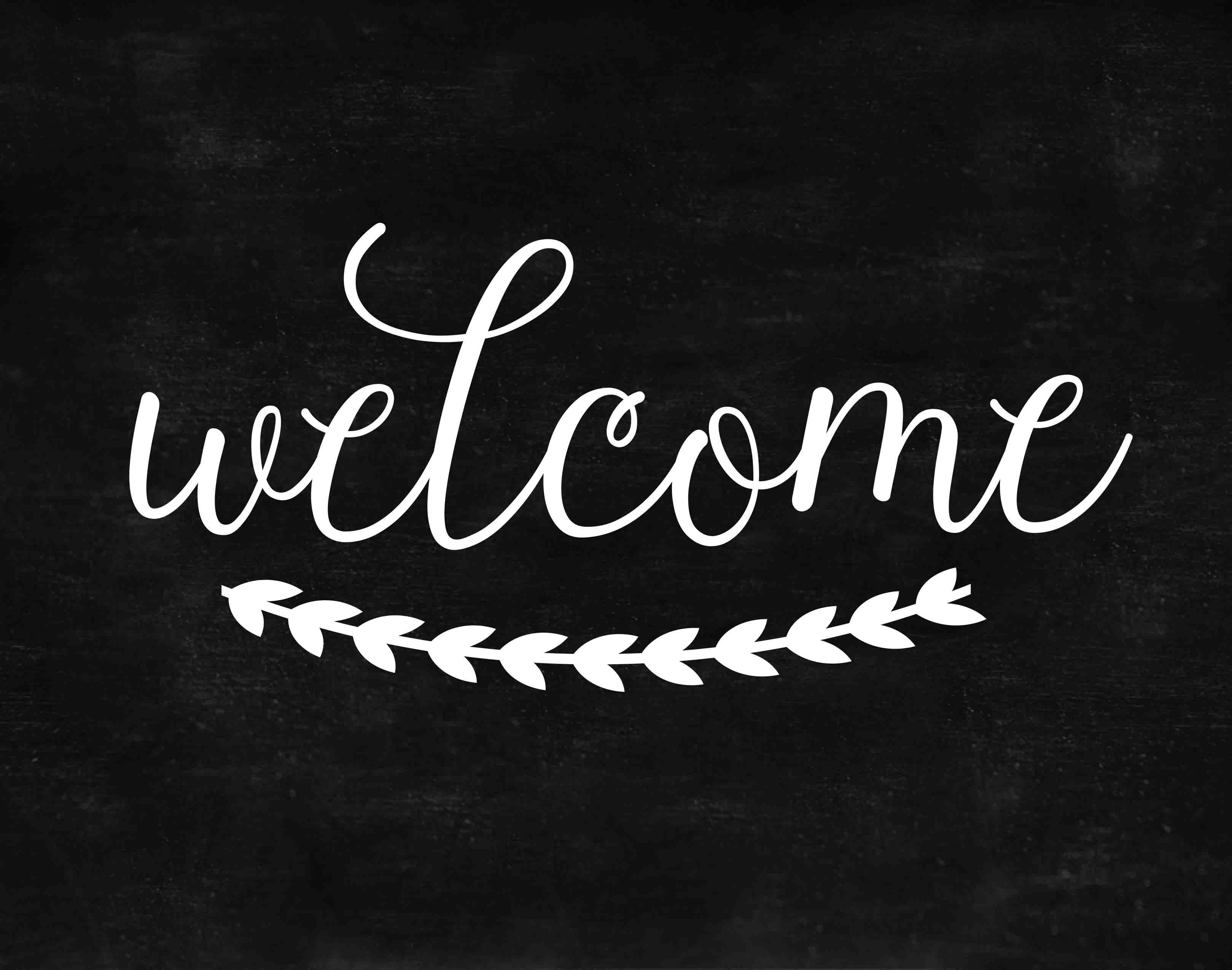 DIY Chalkboard Welcome with Free Printable.