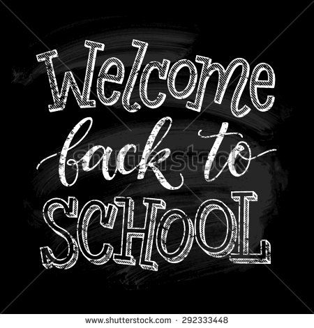 Welcome back to school vector illustration on chalkboard.