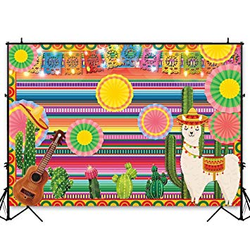 Funnytree 7x5ft Mexican Fiesta Theme Photography Backdrop Mexico Cactus  Alpaca Party Background Cinco de Mayo Colorful Stripes Luau Carnival Banner.