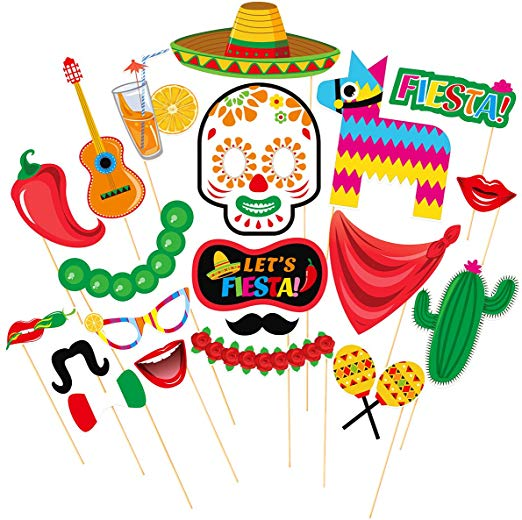 Tinksky Cinco de Mayo Fiesta Photo Booth Props Mexican Party Supplies  Mexican Posing Props Festive Party Favors, Pack of 20.