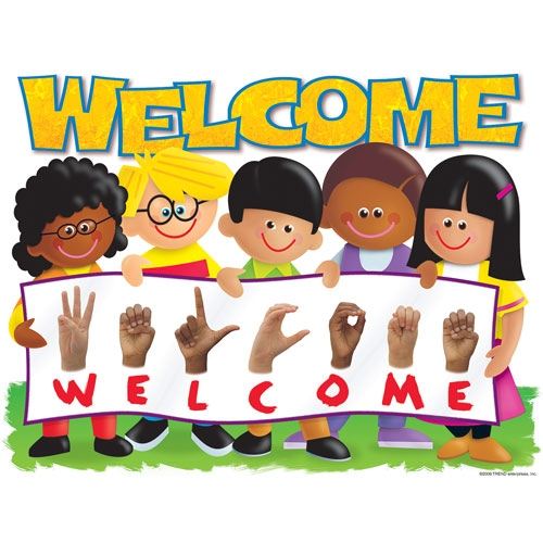 Welcome Sign With Kids Clipart.