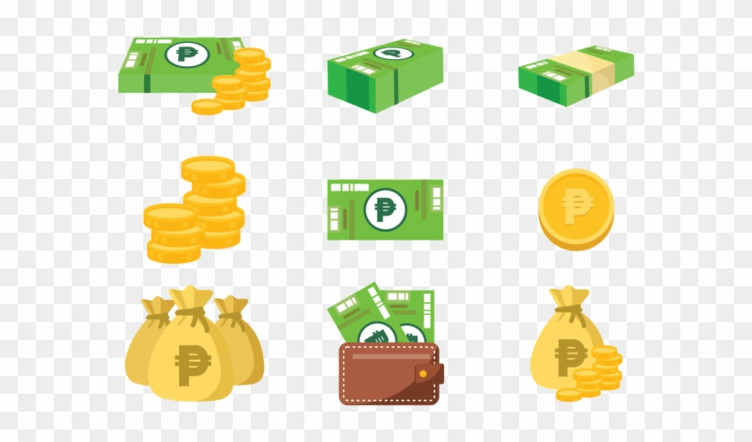 Peso Mexican Money Icons Vector.