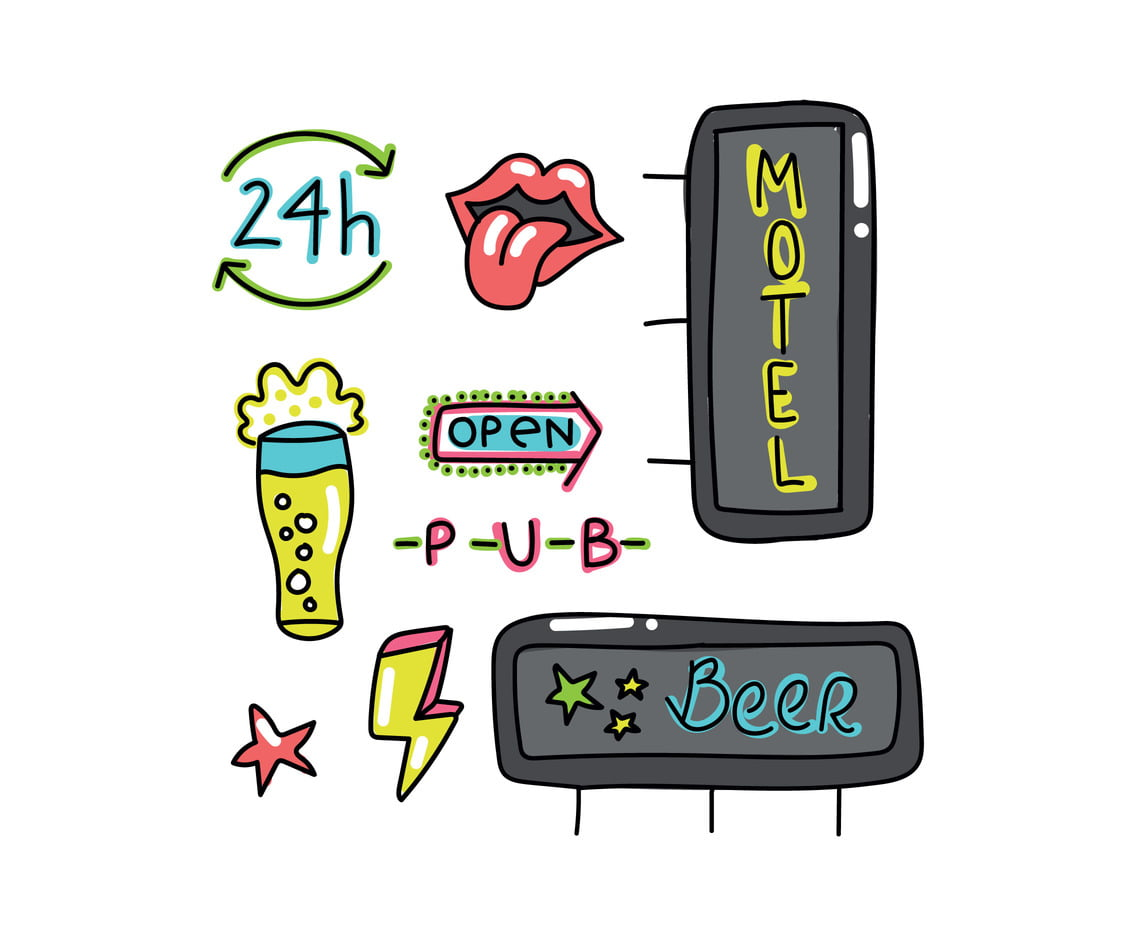 Doodled Neon Signs svg, ai file.