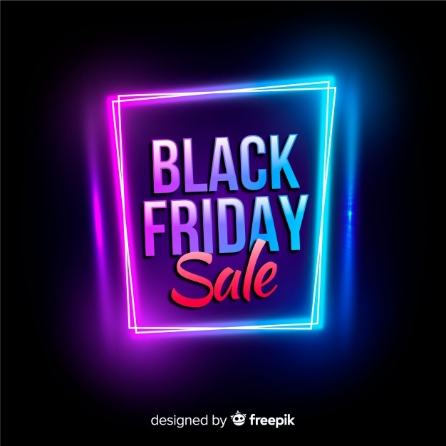 Free Black friday sale neon background SVG DXF EPS PNG.