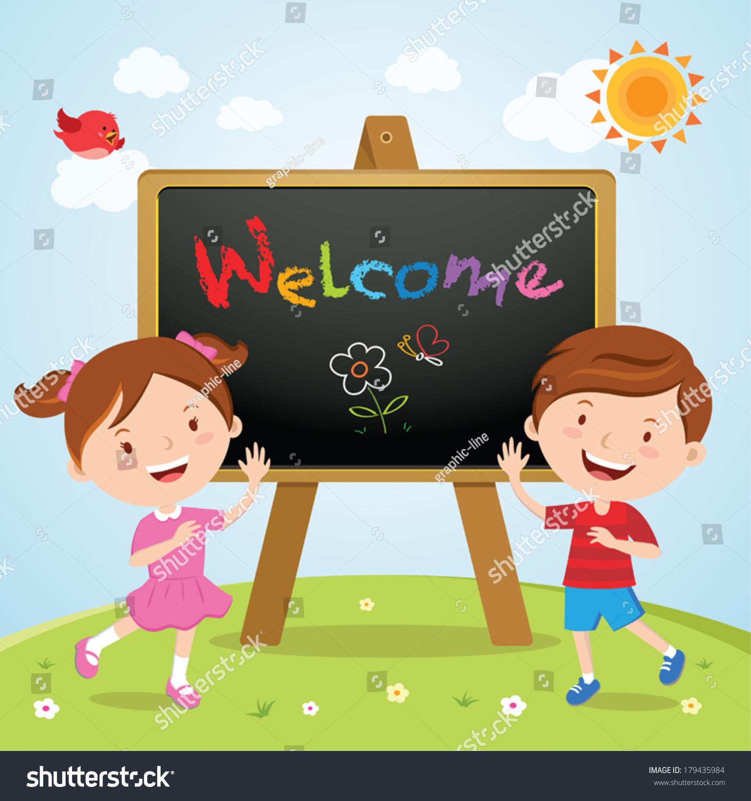 Happy Children Sign Board Welcome School Stock Vector (Royalty Free.
