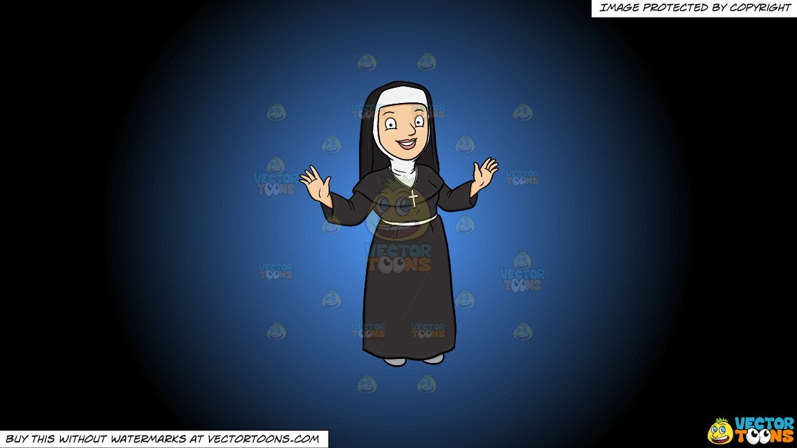 Clipart: A Happy Nun Greeting Everyone A Warm Welcome on a Blue And Black  Gradient Background.