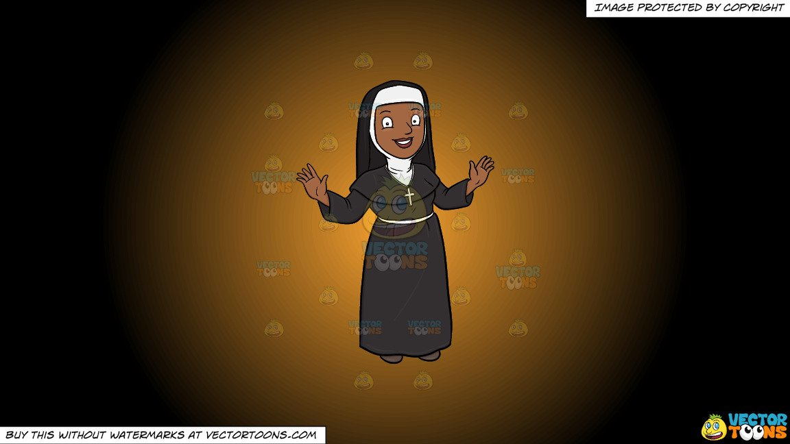 Clipart: A Happy Black Nun Greeting Everyone A Warm Welcome on a Orange And  Black Gradient Background.